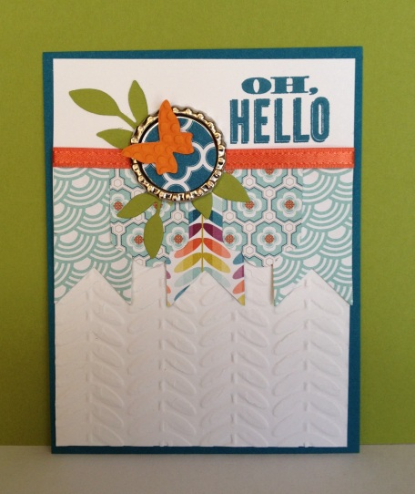 Sycamore Street paper scraps, Oh Hello stampset, Beautiful Wings embosslet, leaves sizzlet, Hearts a Flutter framelets.