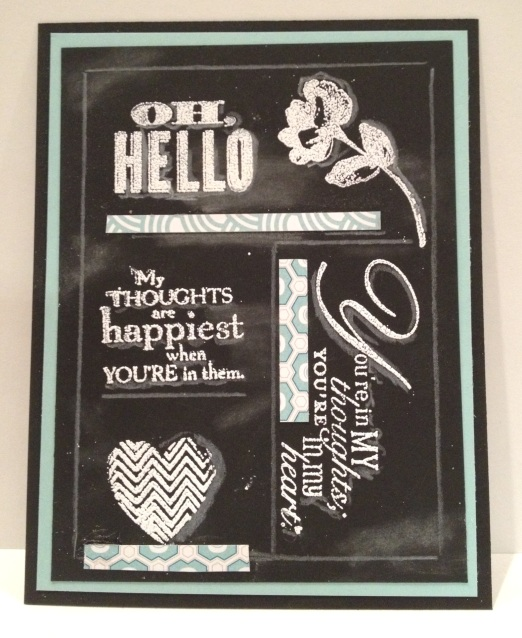 Variety of Stampin' Up! stamps to create a chalkboard card