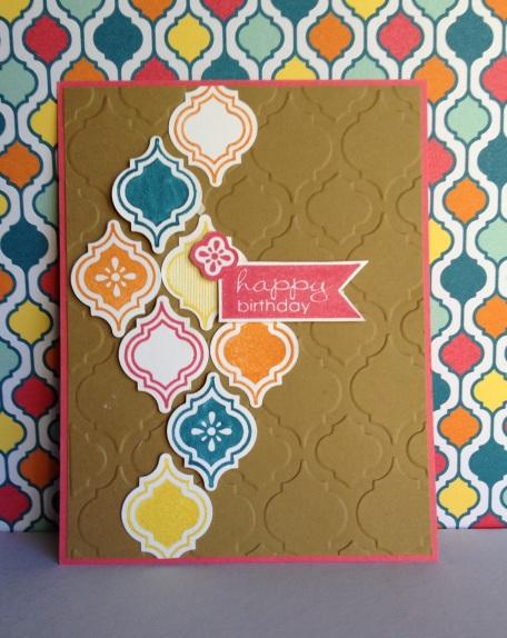 Mosaic Madness using Island Indigo, Pumpkin Pie, Daffodil Delight and Strawberry Slush