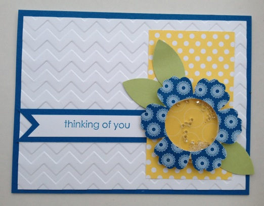shaker card using blossom punch and paper from International Bazaar