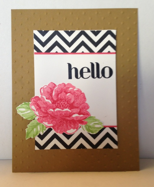 Stampin Up Chevron Stripe background, Stippled Blossoms, Four You