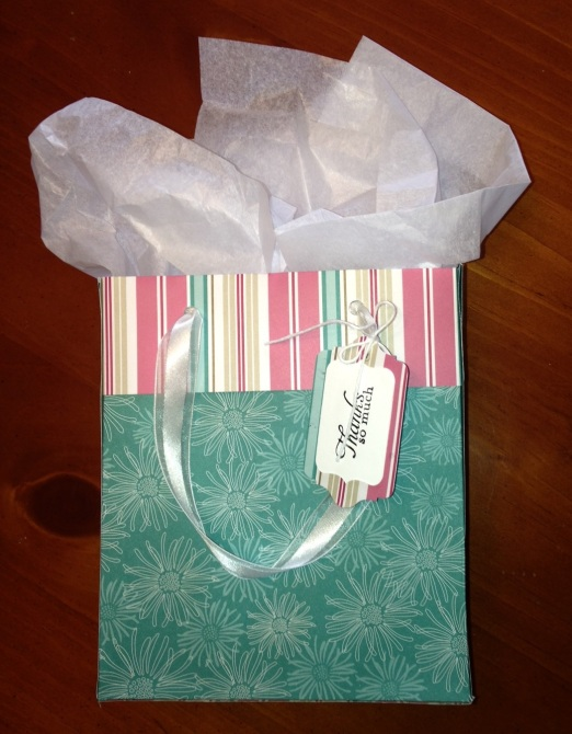 Gift bag made from Stampin' Up designer series paper