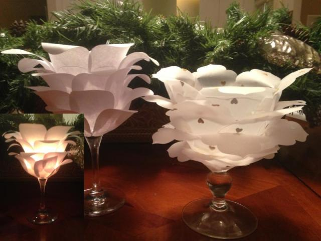 Iguanastamp! Candle holders created by covering wine glasses with Stampin' Up Fancy Foil desinger paper