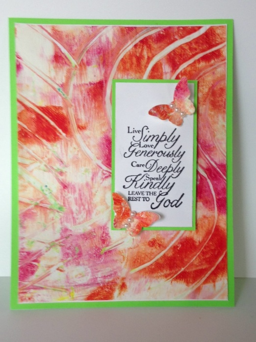 Iguanastamp! Gelli card with Stampin' Up Trust God