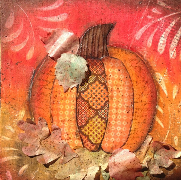 Iguanastamp! Mixed Media Pumpkin