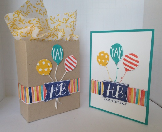 Iguanastamp! Stampin' Up! card and gift bag made with Balloon Bash stamp set